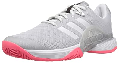 14e833068f38c0 adidas Women s Barricade 2018 Tennis Shoe Matte Silver White Flash red 5.5  ...