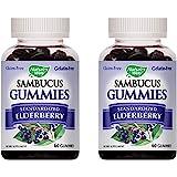 Nature's Way Sambucus Elderberry Gummies, Herbal Supplements with Vitamin C and Zinc, Gluten Free, Vegetarian, 60 Gummies (Pack of 2)
