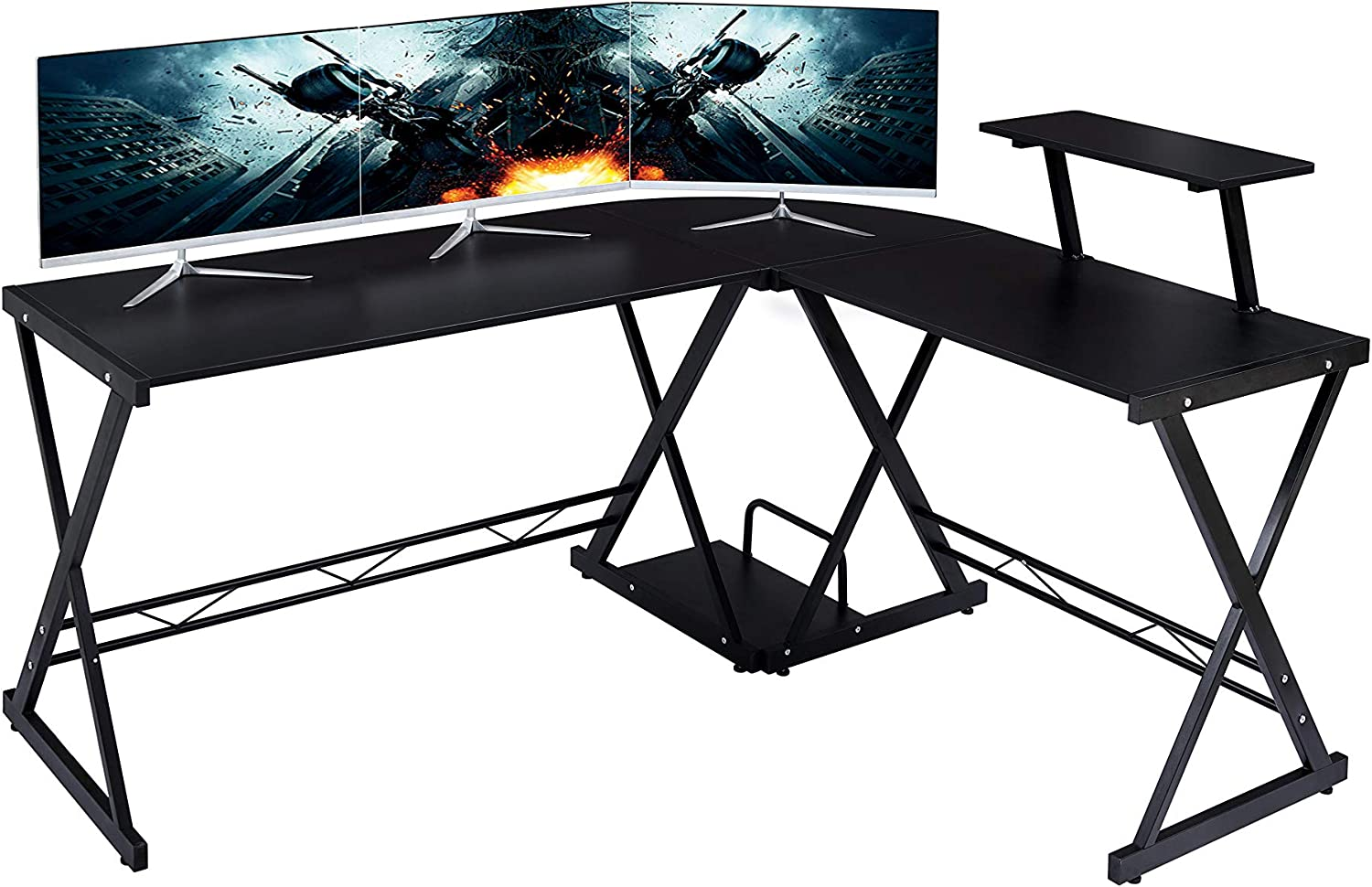 "GreenForest L Shaped Desk Large Size with Moveable Shelf, 64""x50"" Studio Table Home Office Computer Corner Desk for Working Studying Gaming PC Workstation, Black"