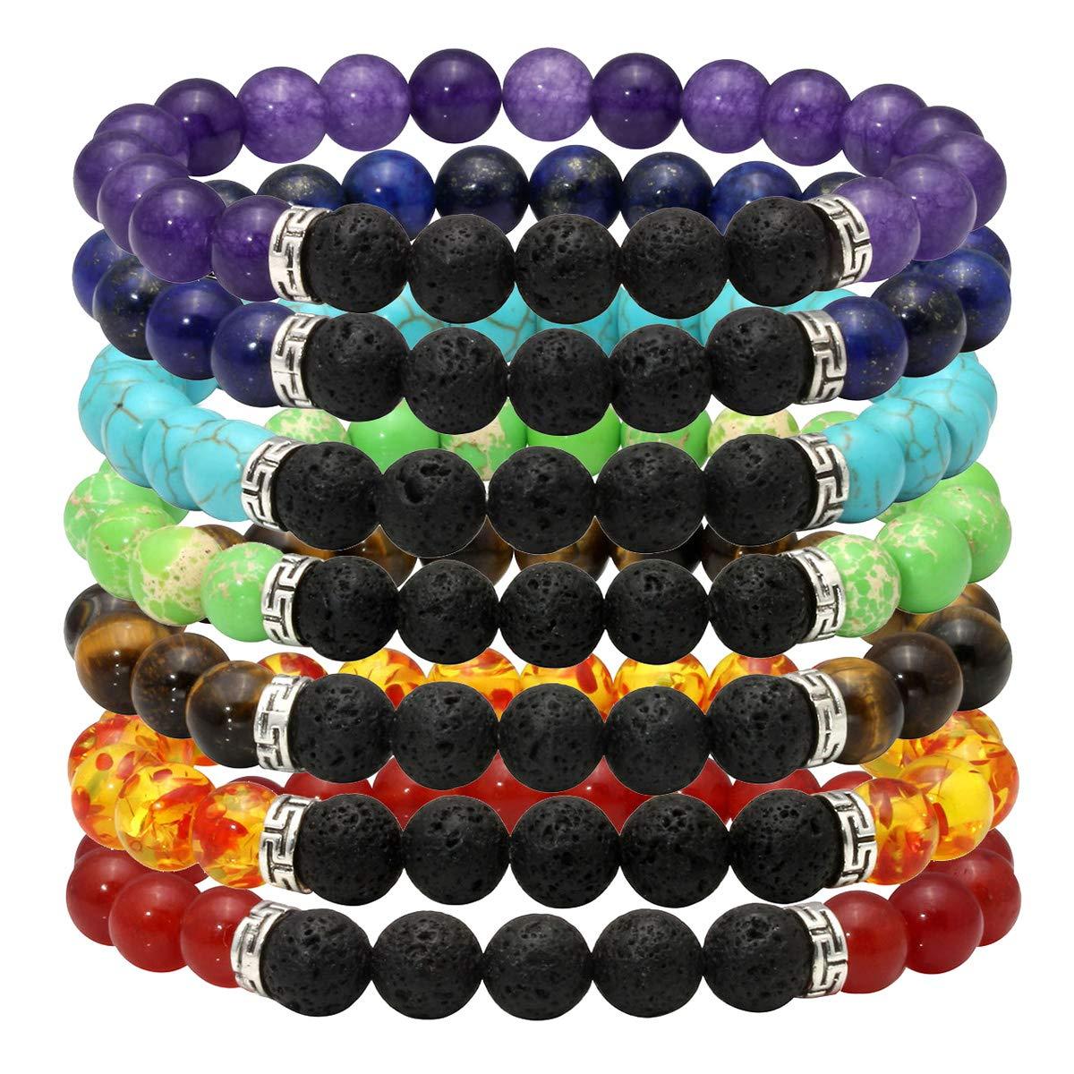 Eigso 7 Chakras Bead Bracelet Mens Womens Aromatherapy Diffuser Bracelet Set Mala Bracelet Elastic