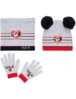cfdd5649470e Minnie Ensemble Snood, bonnet et gants enfant fille Gris rouge de 3 à 9ans