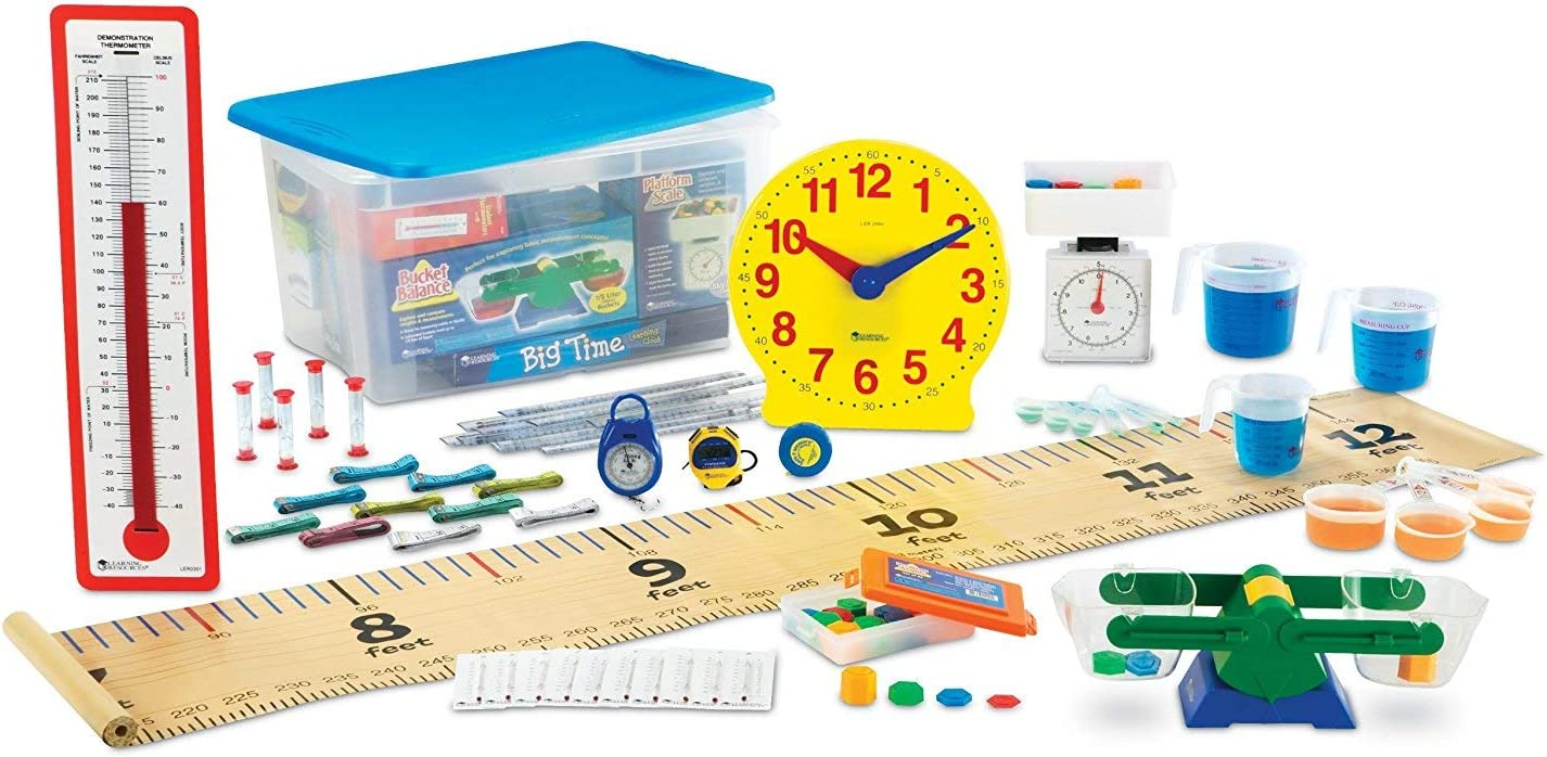 B000URUB2U Learning Resources Primary Measurement Kit, Science Lab Set, Bucket Balance, Scale, Clock, Rulers, Thermometers, Ages 6+ 71IA74XVS1L.SL1500_