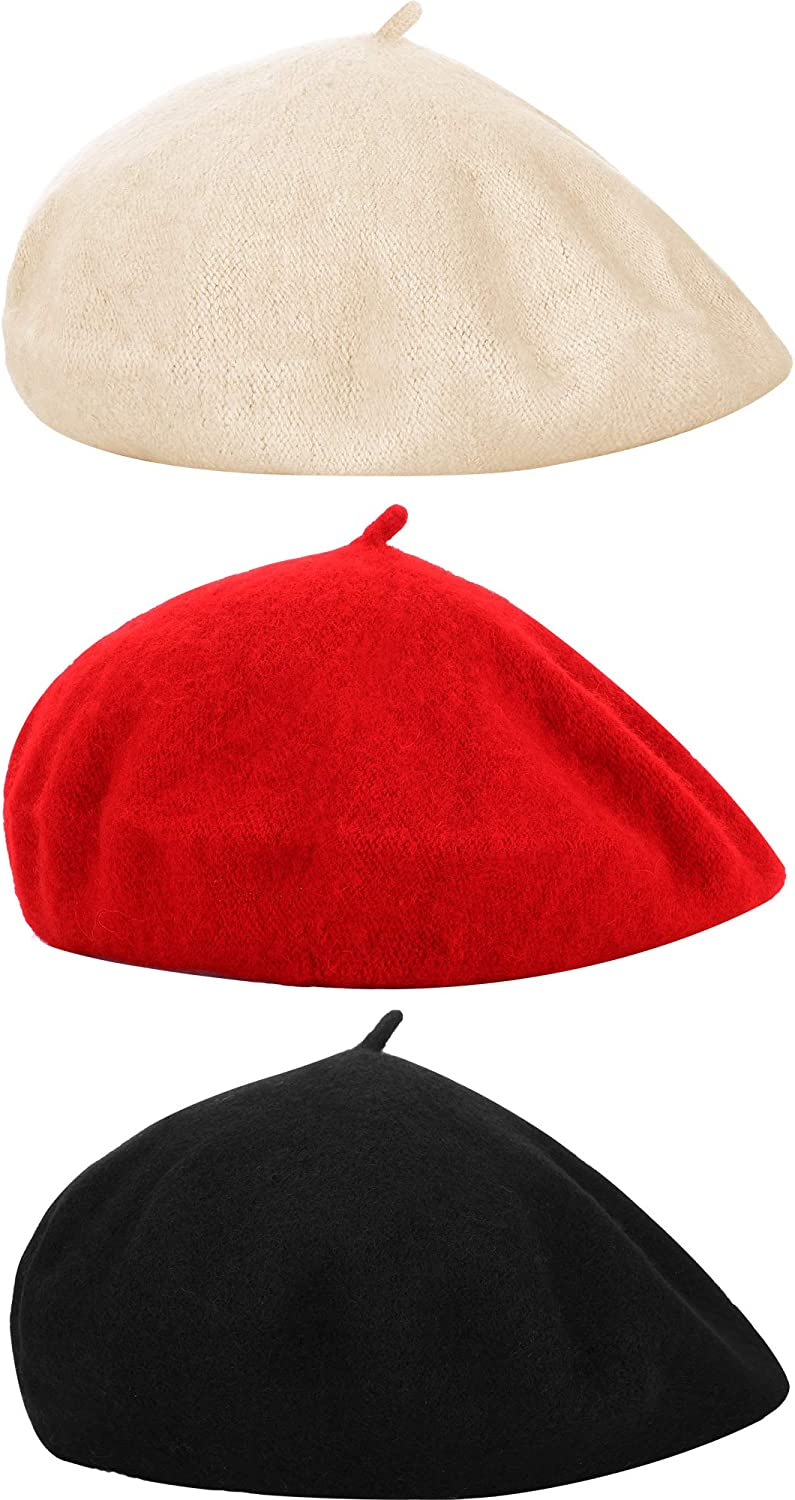 , Color Set 2 Hestya 3 Pieces Beret Hat French Style Beanie Cap Solid Color Winter Hat for Women and Girls Casual Use Adult Size M