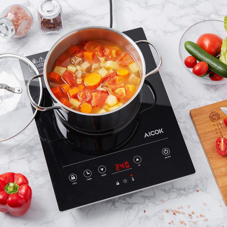 regolazione della temperatura e del timer design elegante cucina a induzione 2000 W con display digitale Piano cottura a induzione Aicok nero comandi tattili