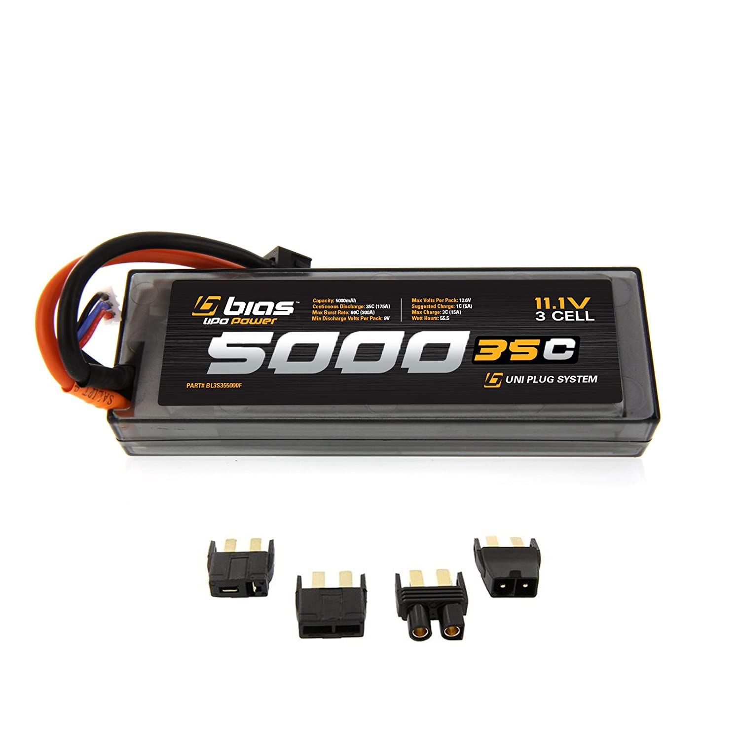Amazon Bias 35C 3S 5000mAh 11 1V LiPo Hard Case Battery UNI Plug EC3 Deans Traxxas Tamiya for RC Car Truck Buggy Boat Heli and Drone Toys &