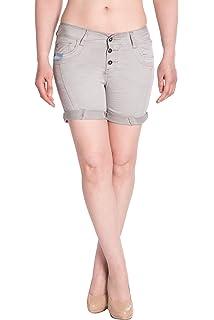 Blue Monkey Damen Jeans Shorts BM3415 Weiß: