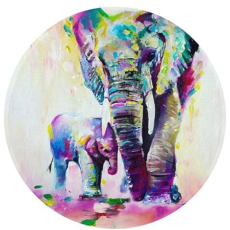 Alfombra redonda de elefante de acuarela, alfombra redonda lavable ...