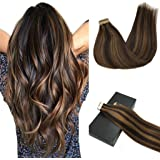 GOO GOO Remy Hair Extensions Tape in Human Hair Ombre Dark Brown Highlighted Chestnut Brown Real Natural Hair Extensions…