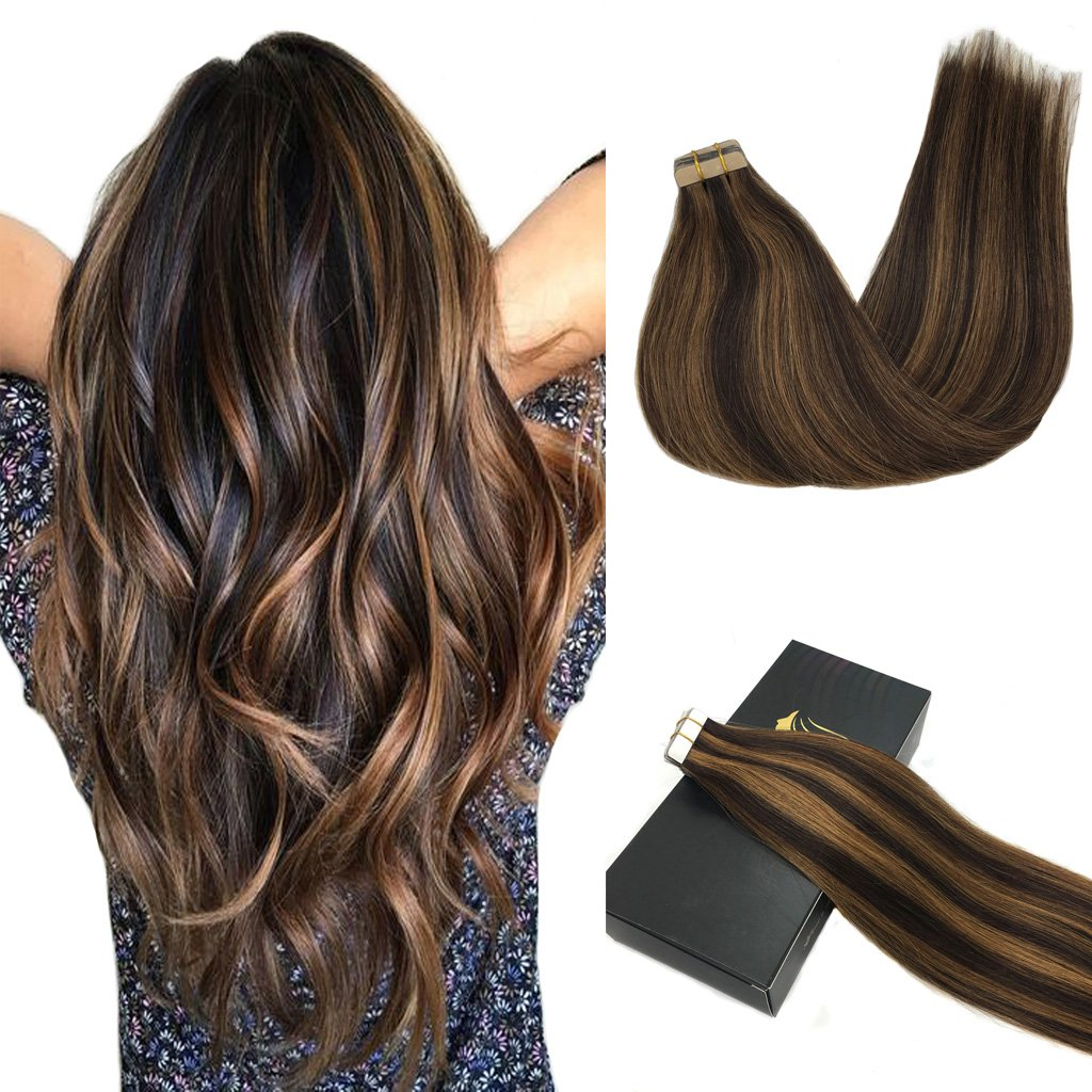Googoo Human Hair Extensions Tape in Ombre Dark Brown Highlighted Light Brown Natural Hair Extensions Tape in Straight 20pcs 50g 20inch by GOO GOO