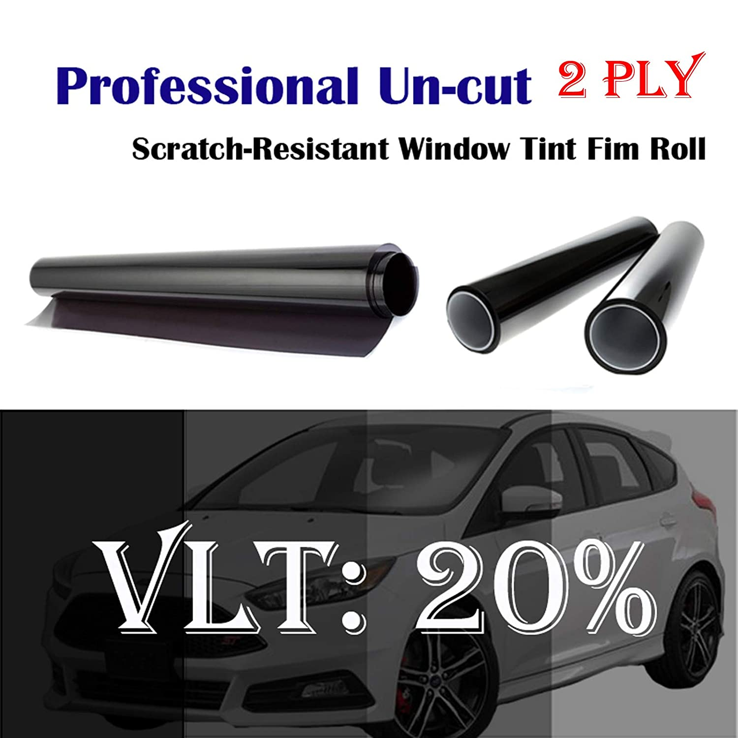 Mkbrother 2PLY 1.8 mil Premium 20% VLT 60 in x 100 Ft (60 x 1200 Inch) Feet Uncut Roll Window Tint Film