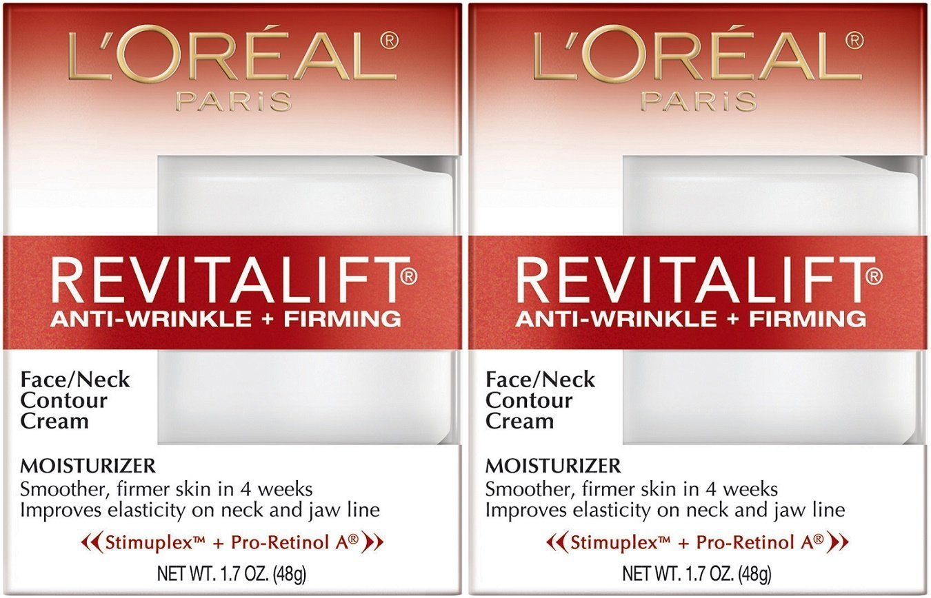 L'Oreal Paris RevitaLift Anti-Wrinkle + Firming Face & Neck Contour Cream, 1.7 Fluid Ounce (Pack of 2): Beauty