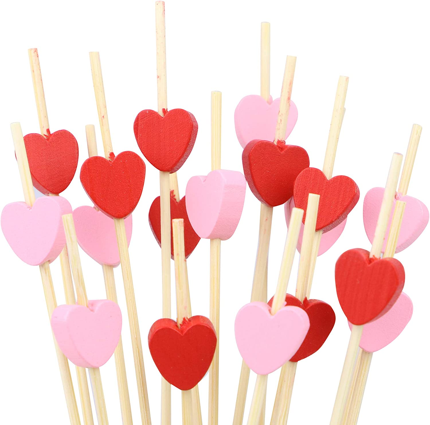 Heart Shaped Cocktail Toothpicks, set of 200 total pieces, 4.7