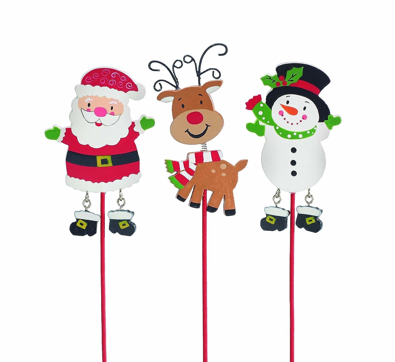Burton+Burton Hand-Painted Wooden Christmas Pick, Bobble Head Rudolph Reindeer, Dangle Leg Snowman and Santa by Tina Wenke burton + BURTON 1538144