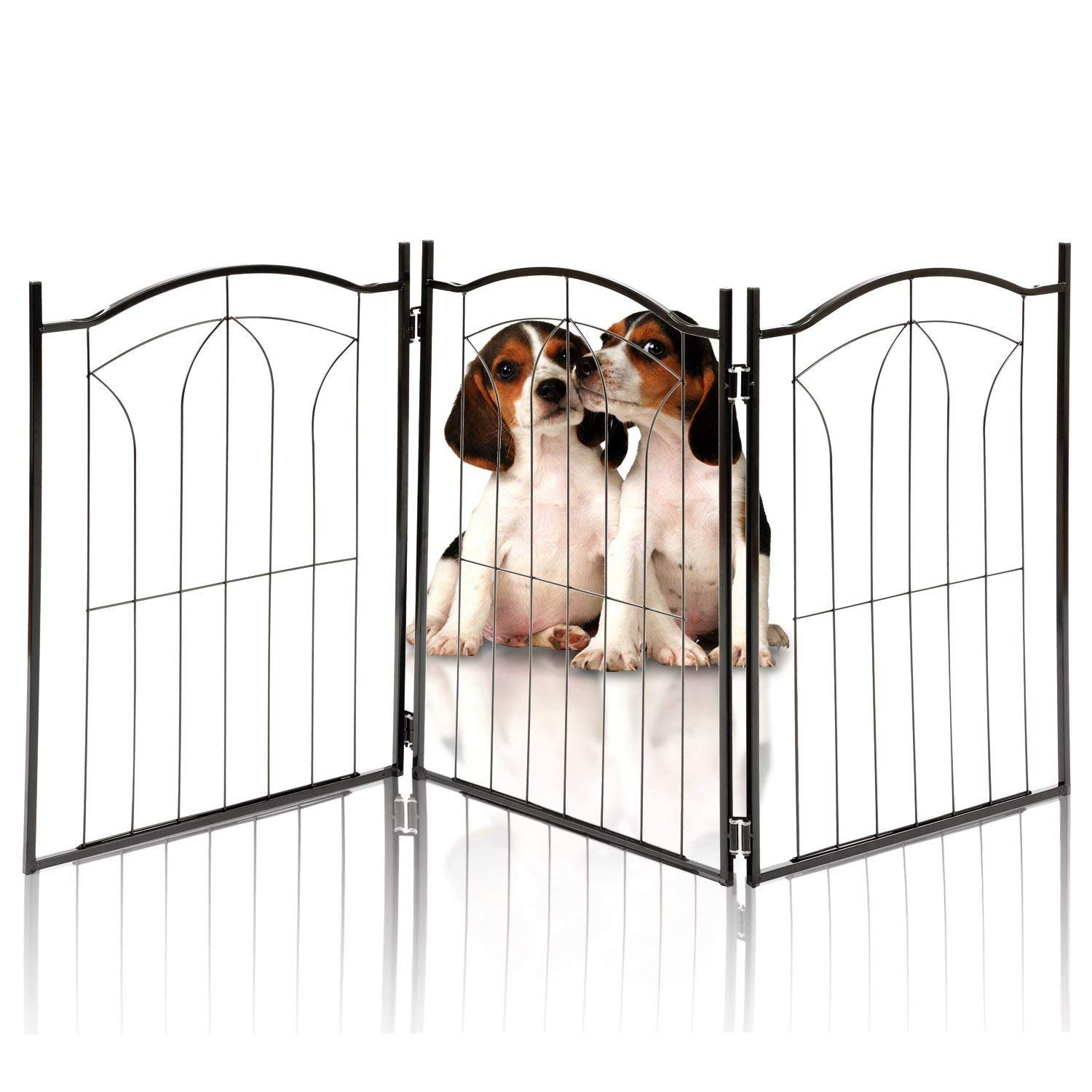 Hoovy Freestanding Metal Pet Gate: Foldable & Extendable Dog & Puppy Gate for Home & Office Use | Keeps Pets Safe | No Assembly Required | Portable & Durable Design (Metal Arch Design)