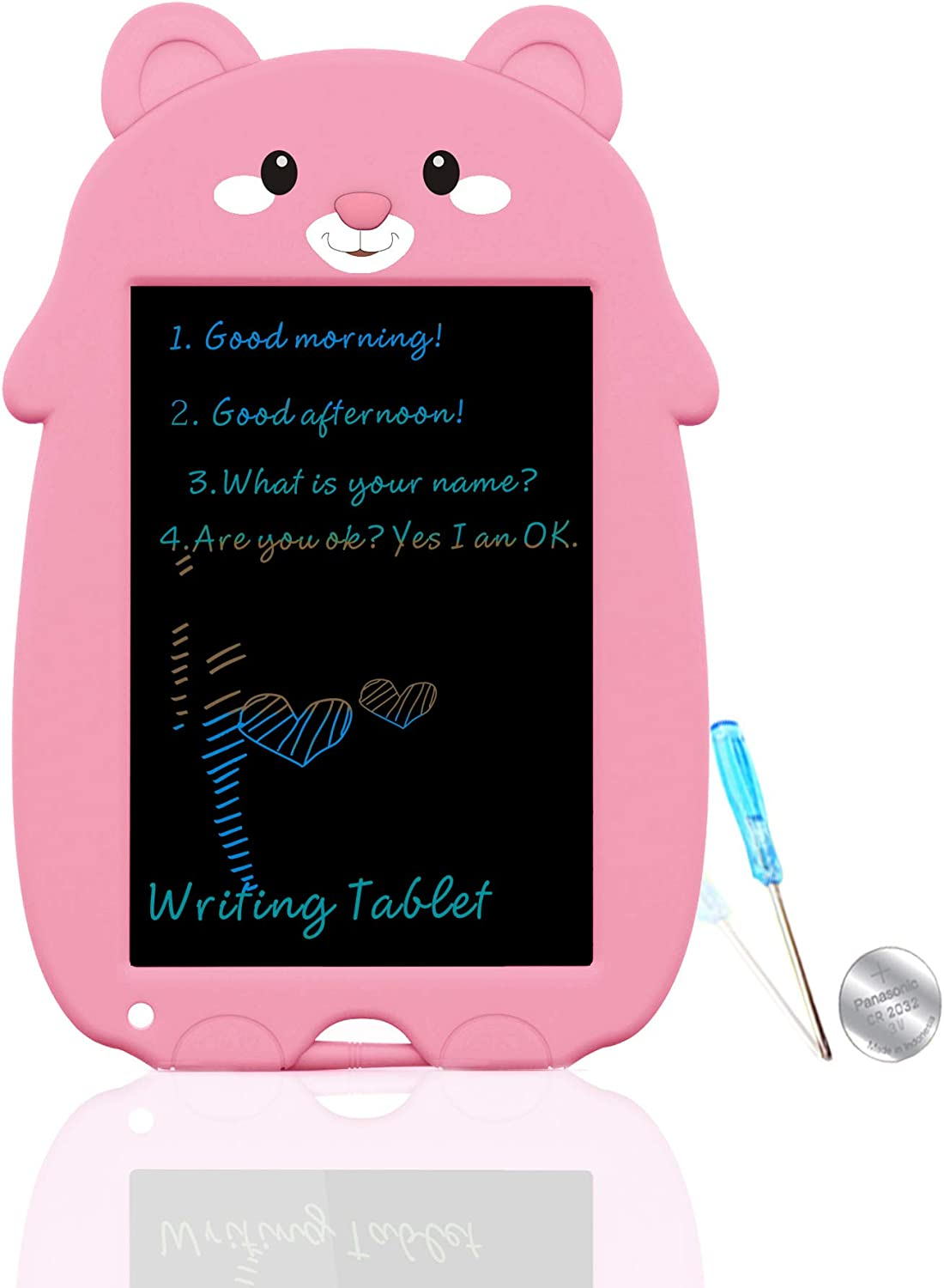 mom&myaboys  8.5 Inch Eletronic Whiteboard,Display Colorful Handwriting, Writing Board ,Writings Pads Drawing Board Gifts for Kids,Office Blackboard-One Key Erase,Teen Girl Boys Sketch Pads,Pink MC: Office Products