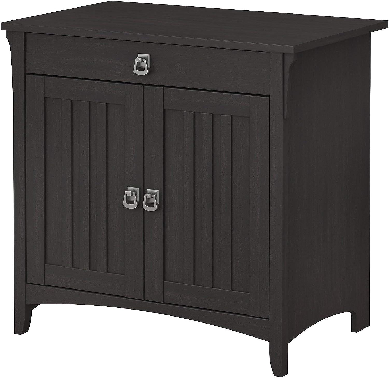 Amazon Com Bush Furniture Salinas Secretary Desk With Keyboard Tray And Storage Cabinet In Vintage Black Furniture Decor