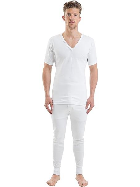 Hombre 100% Algodón Ropa Interior Set V Blanco Cuello Manga Corta Chaleco Y Largos Pantalones