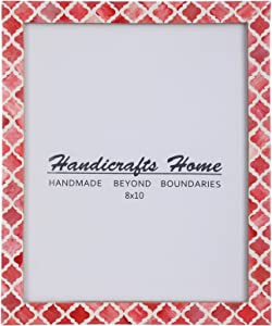 Handicrafts Home 8x10 Picture Photo Frame Moorish Damask Moroccan Art Inspired Vintage Wall Décor Frames [8x10 RED]