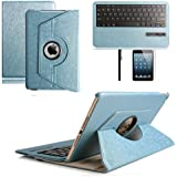 iPad Pro Keyboard,Boriyuan Magnetically Detachable Hidden Wireless Bluetooth Keyboard Muti-angle Folio 360 Degree Rotating Stand Cover Smart CoverFor iPad Pro 12.9 inch,Blue
