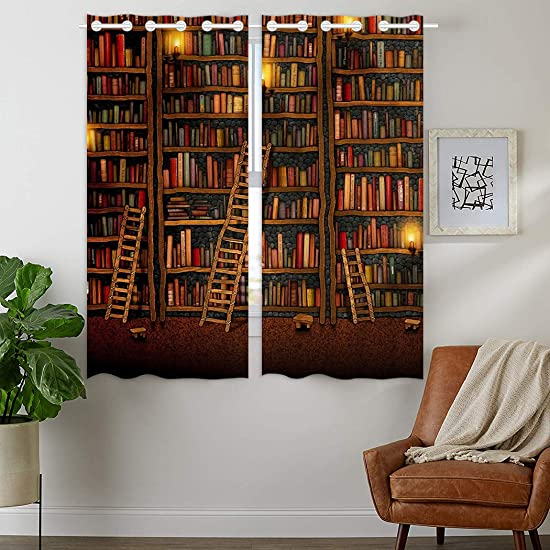 HommomH 42 x 63 inch Curtains 2 Panel Grommet Top Darkening Blackout Room Vintage Library Book