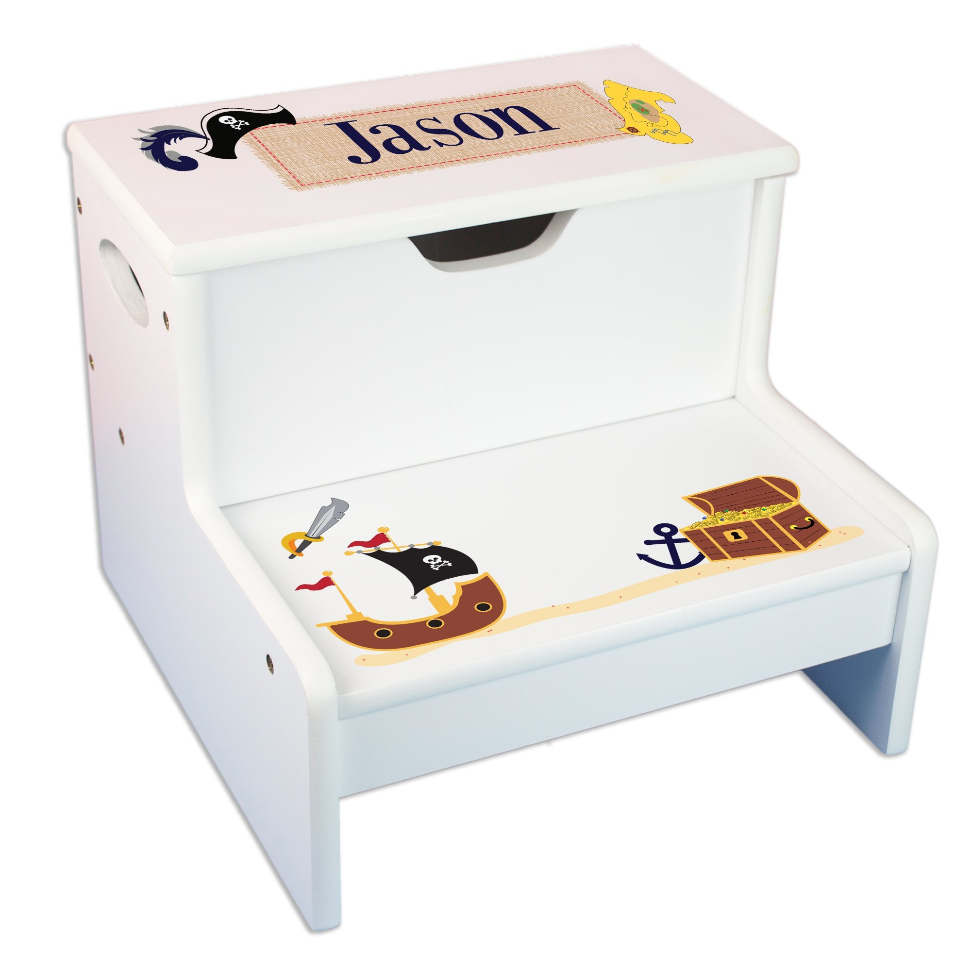 Personalized Pirate Storage Step Stool by MyBambino