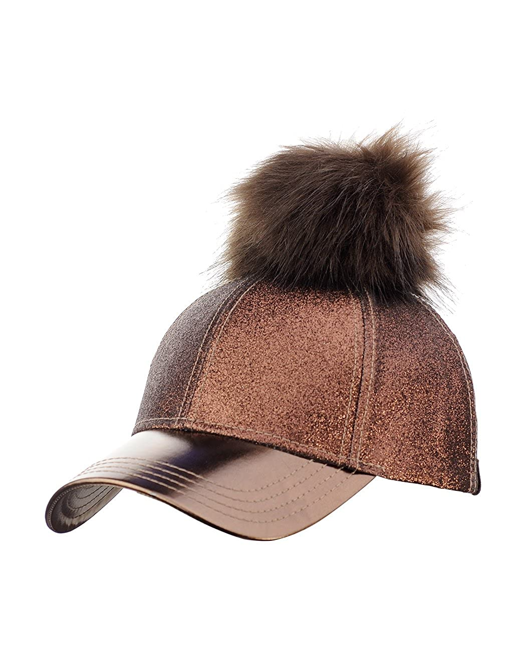 2d7656a96bd C.C Glitter Style Precurved PU Leather Baseball Cap w Attachable Pom ...