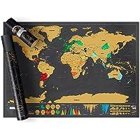 YOMYM Scratch Off Map World Poster Deluxe Edition - Mapa raspable Personalizado del Mundo, World Travel Map con Tubo portatil - Divertido y Colorido póster de Scratch - Negro