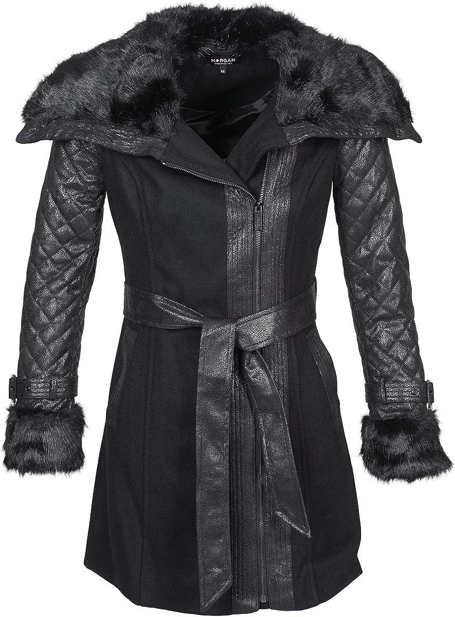 Morgan Manteau Col Imitation Fourrure Gefrou Abrigo para Mujer