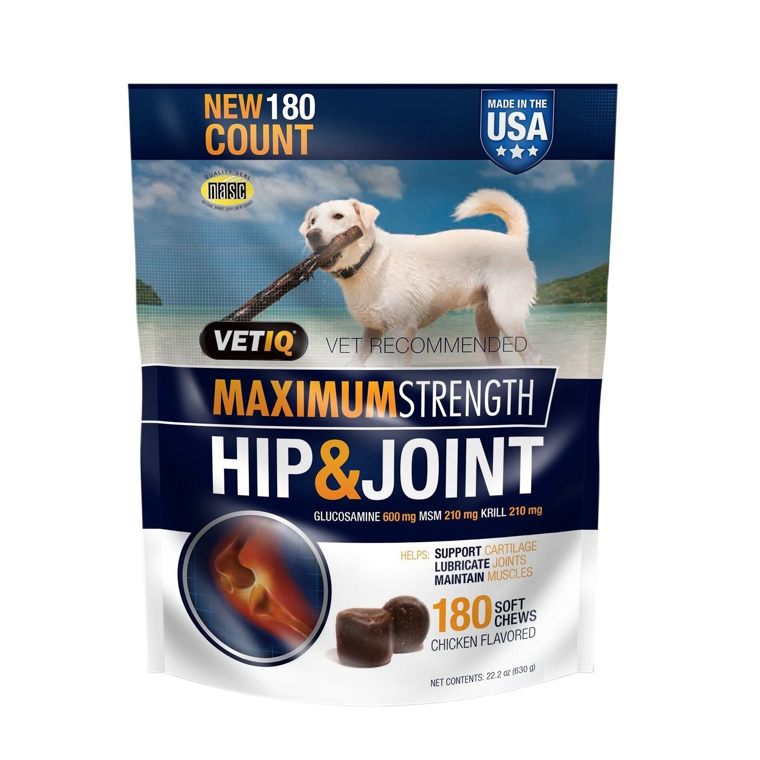 VetIQ Hip & Joint Chews for Dogs, 180 ct. (pack of 6)