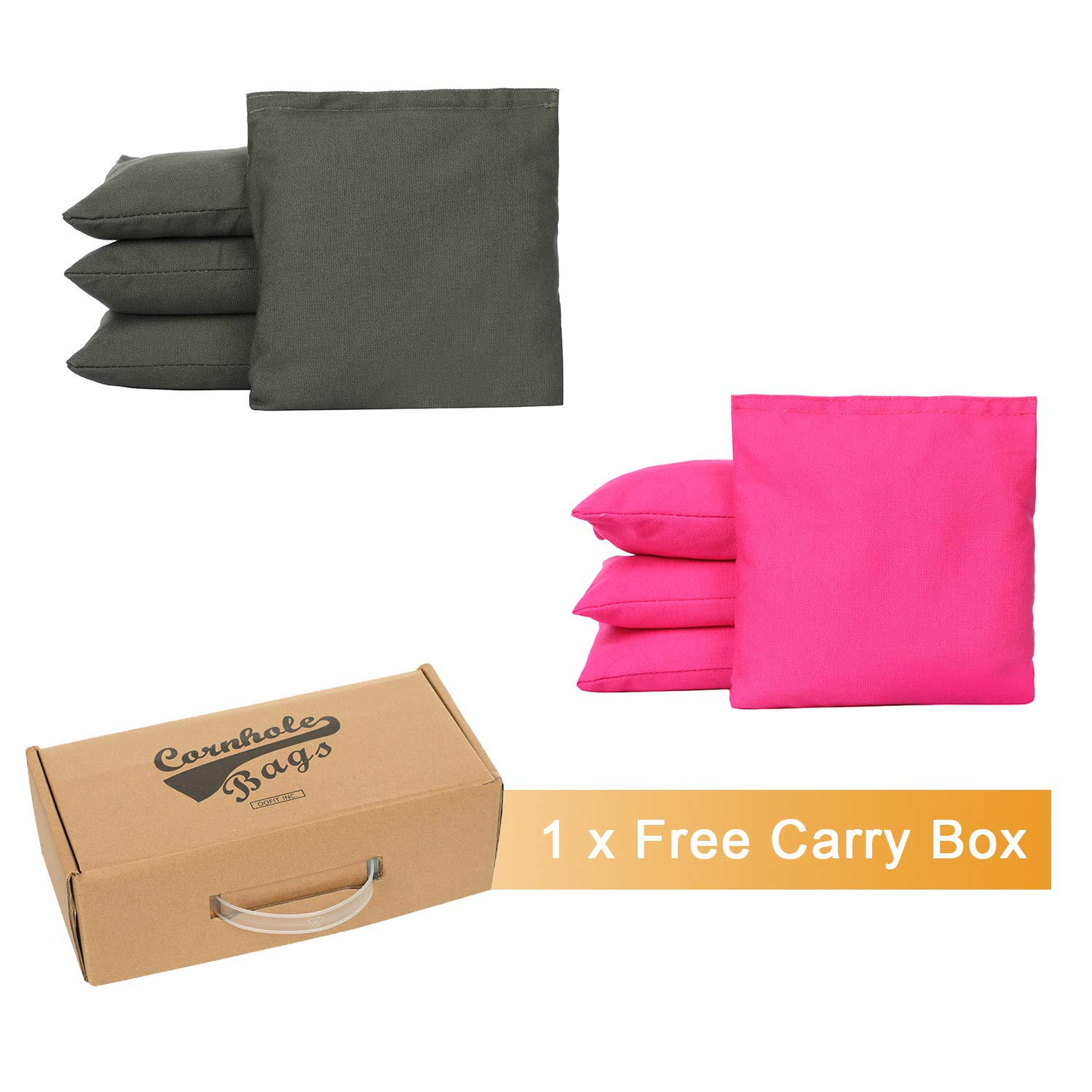 OOFIT Cornhole Bean Bags Set of 8 Weather Resistant for Tossing Corn Hole Game with Carrying Box (Hot Pink, Dark Grey)