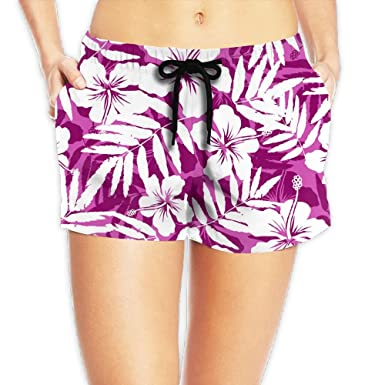 f180f043b7 SARA NELL Womens Drawstring Hawaii Hawaiian Pink and White Tropical Flowers  Beach Board Shorts Swim Trunks at Amazon Women's Clothing store: