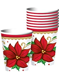 Winter Botanical Christmas Paper Cups For Party, 9 Oz., 50 Ct.