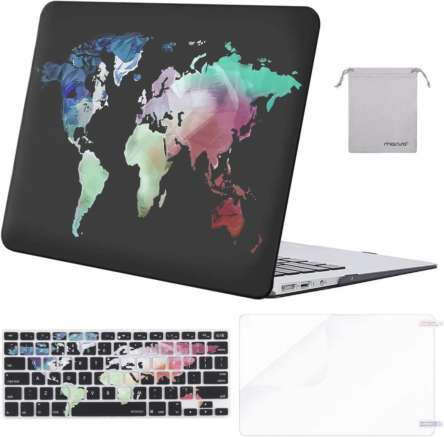 MacBook Air 11 Inch, Black World Map iLeadon MacBook Air 11 inch Protective Hard Case Rubber Coated Ultra Thin Shell Cover+Keyboard Cover for MacBook Air 11 inch Model A1370//A1465