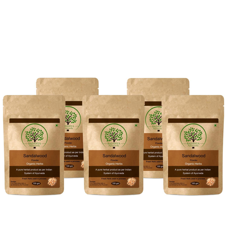 RADANYA Ayurveda Sadalwood Powder 100 Gram - Indian Pure Natural Essential Organic Herbal Supplement Powder - Pack of 5 by RADANYA Ayurveda