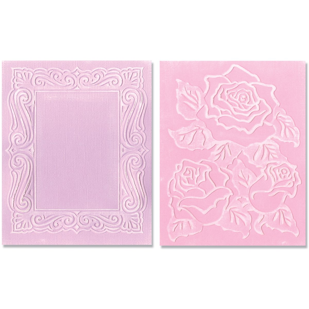 Sizzix Textured Impressions Embossing Folders 2-Pack, Roses and Frame Set by Jen Long-Philipsen 657670