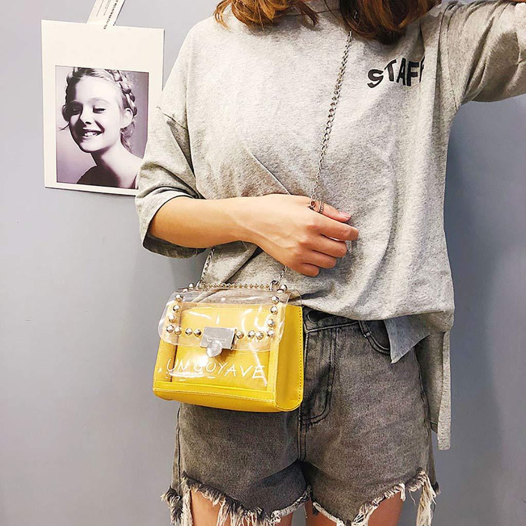 Women Fashion Rivet Transparent Messenger Bag Shoulder Small Square Bag