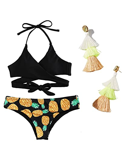 51b4a4be4a956 Amazon.com: Signe Womens Padded Push-up Pineapple Floral Print Wrap Bikini  Set: Clothing