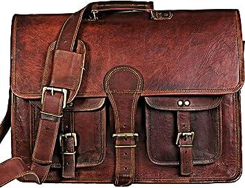 """18/""""  Vintage Genuine Goat Leather Shoulder Laptop Messenger Large Briefcase Bag"""