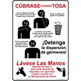 ComplianceSigns Vertical Plastic Cover Your Cough Use Tissue Spanish Sign, 10 X 7 in.