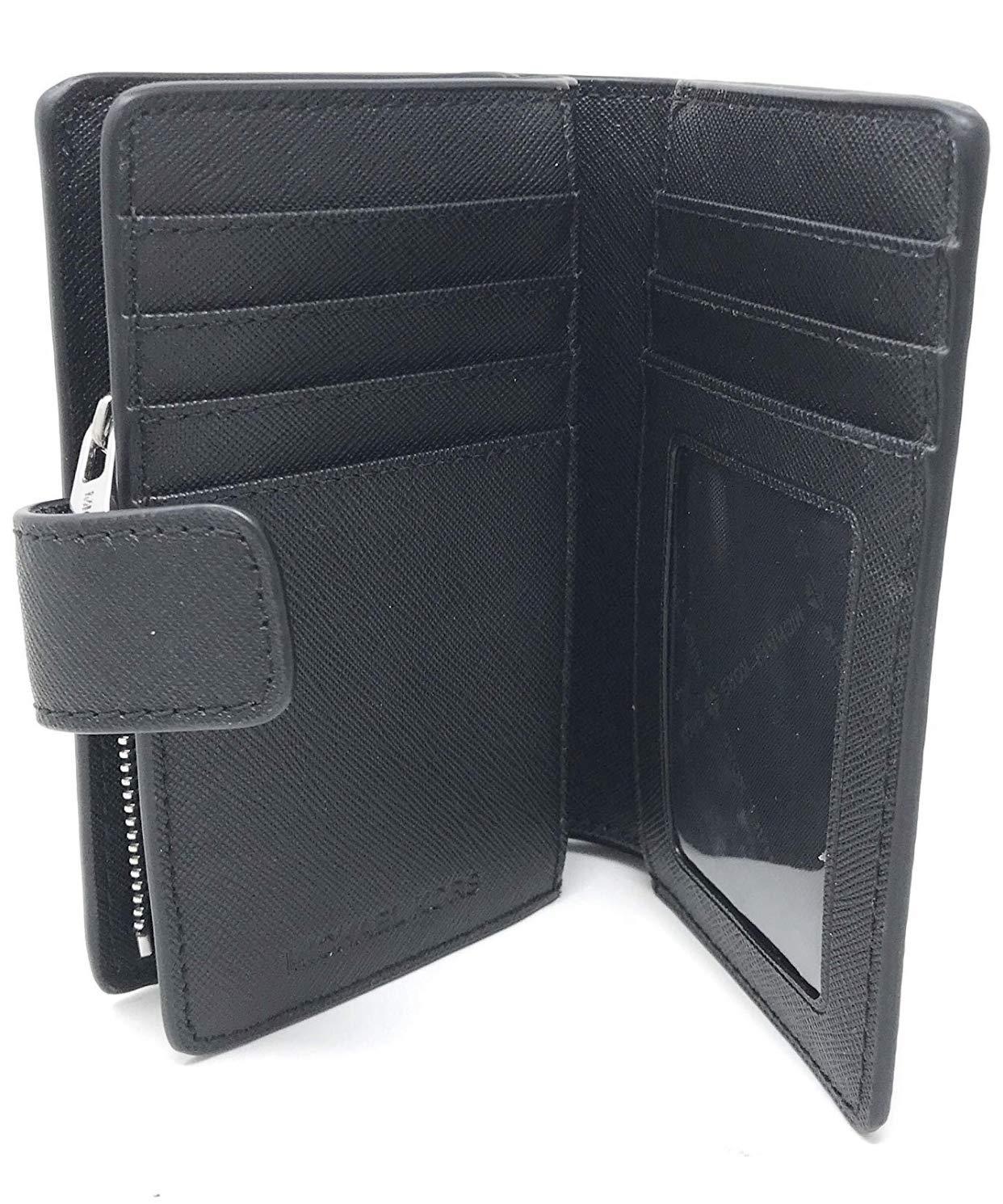 Michael Kors Jet Set Travel Saffiano Leather Bifold Zip Coin Wallet (Black PVC 2019) by Michael Kors (Image #5)