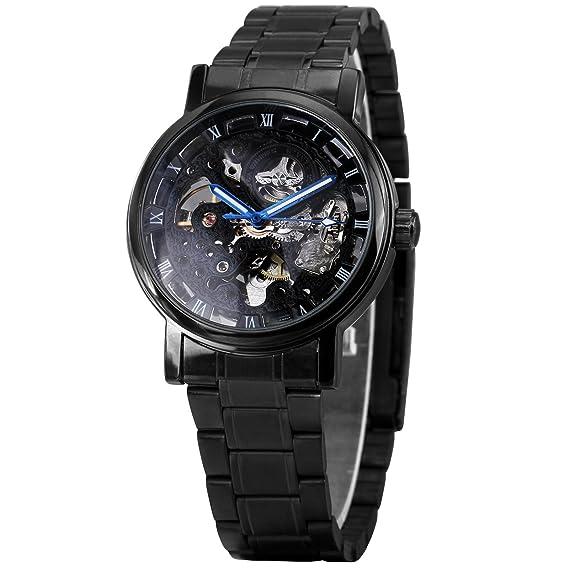 caluxe moda Hombre de esqueleto mecánico relojes negro íntegramente en acero inoxidable reloj luminoso manos: Amazon.es: Relojes
