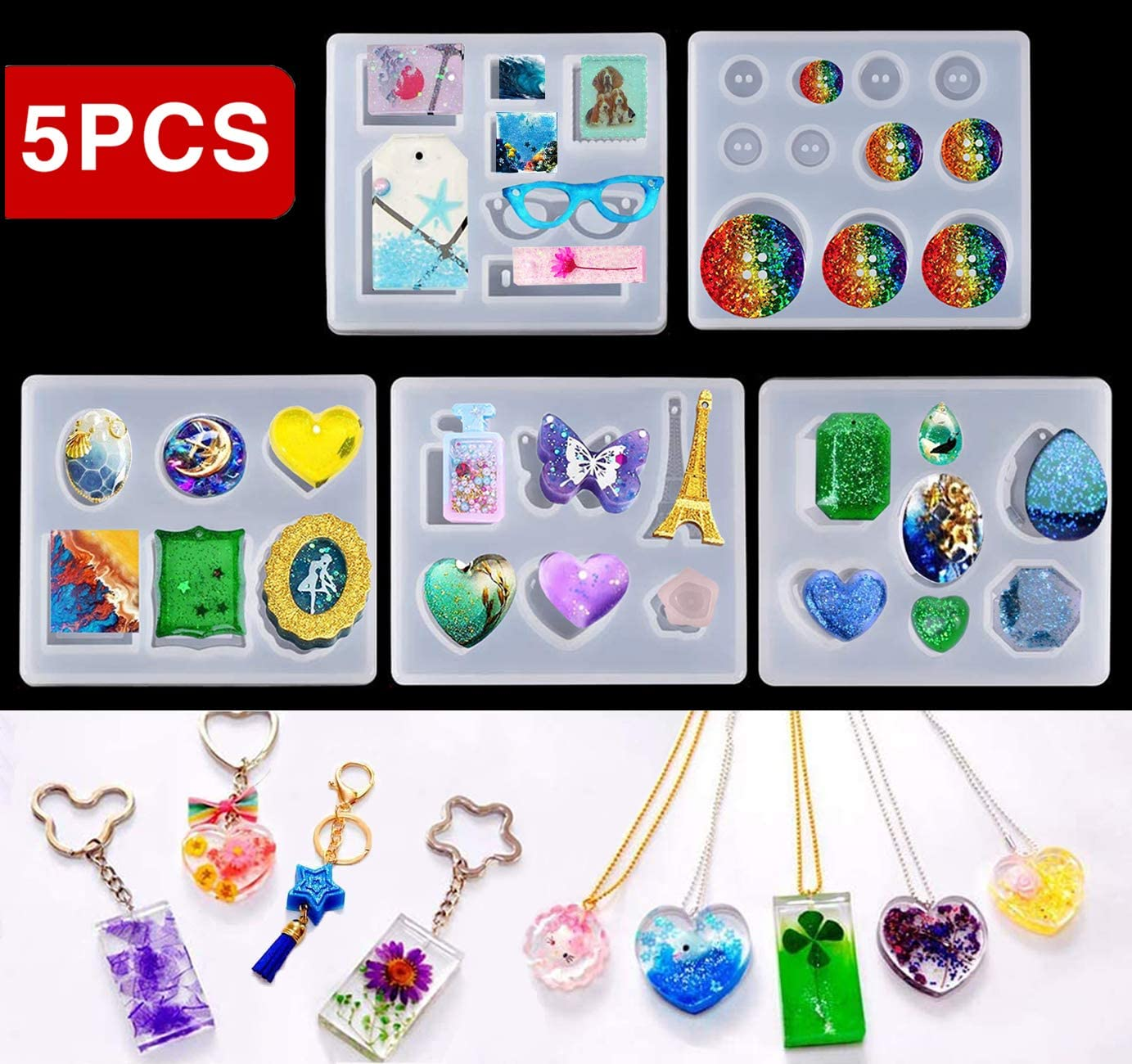 5Pcs//Set Silicone Mould Craft Mold For Resin Necklace Jewelry Pendant Making PF