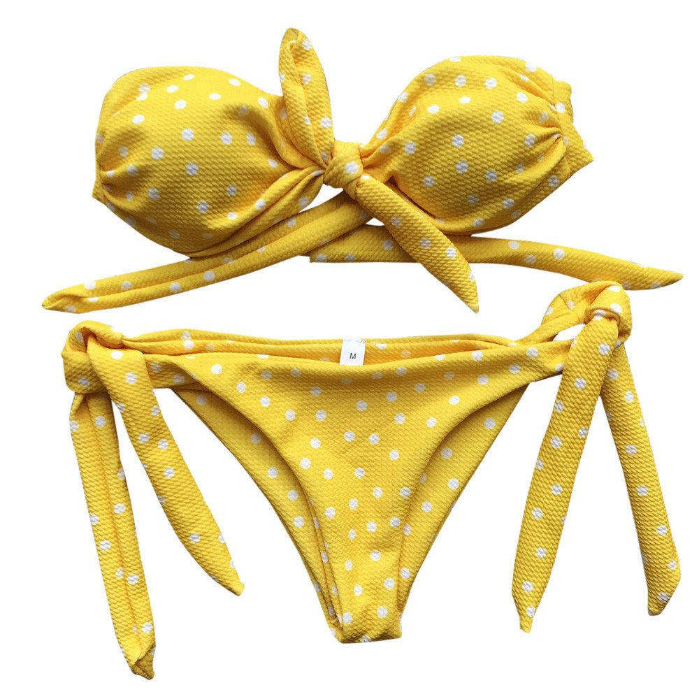 Bikini Sets for Women Summer Sexy Ladies Dot Printed Push-Up Padded Bow Two Piece Bikinin Set Set Swimwear Swimsuit Beachwear Yellow