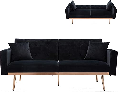 Black Velvet Fabric Sofa Couch,JULYFOX 68 inch Wide Mid Century Modern Loveseat Sofa Button Tufted Sofa Sleeper Bed Futon 700 lbs Heavy Duty