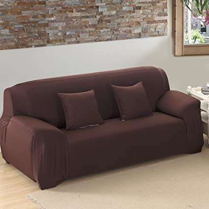 Stretch Loveseat Cover 2 Seater Fabric Slipcover Protector Couch Slipcover  Chocolate