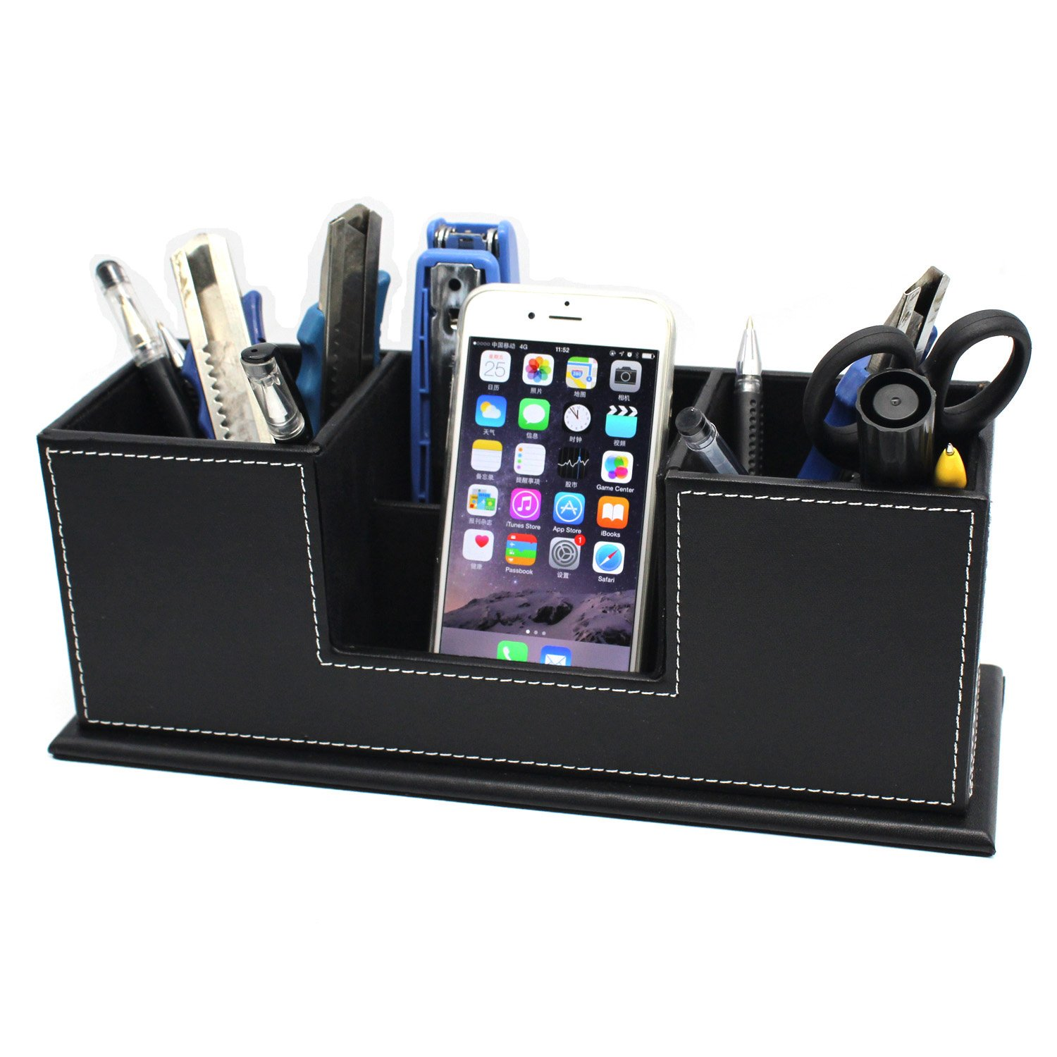 MOTONG Multi-function Leather Desk Stationery Organizer Storage Case For Mobile and Office Stationery (Black)