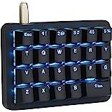 Koolertron One Handed Macro Mechanical Keyboard,Blue LED Backlit Portable Mini One-Handed Mechanical Gaming Keypad 23 Fully P