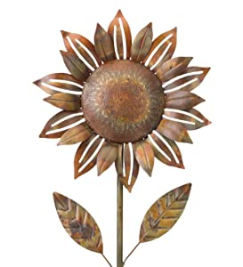 Regal Art & Gift 20448 Copper Flower Sunflower Garden Stake, Flamed