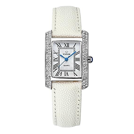 WWOOR Las mujeres del reloj deportivo Fashion banda de acero inoxidable resistente al agua relojes a