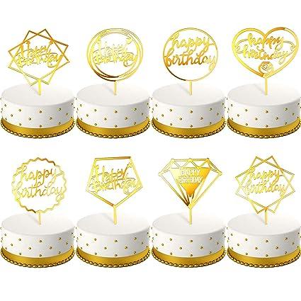 Zhanmai - Adorno para tartas (8 piezas, acrílico, para ...
